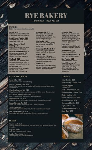 Wood Bakery Menu