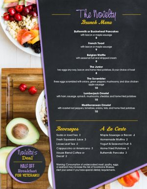 Breakfast Parfait Menu
