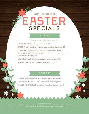 Easter Celebration Menu