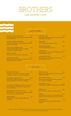 Golden Cafe Menu