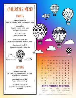 Balloons Kids Menu