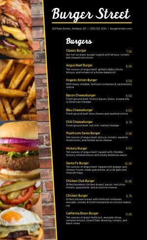 Burger Street Menu
