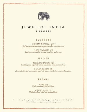 Authentic Indian Menu
