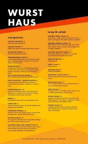 Abstract German Menu