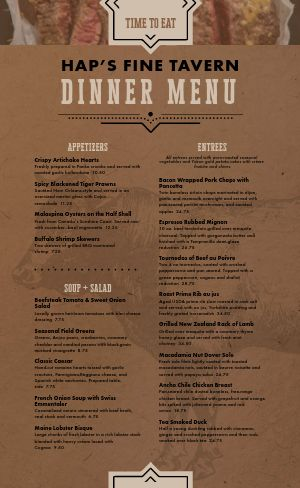 Classic Steakhouse Menu