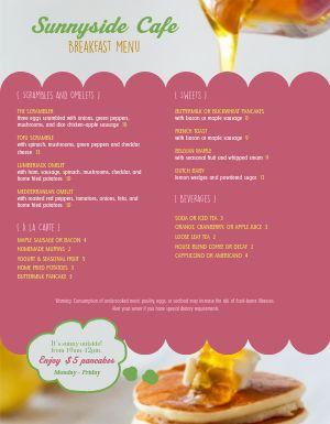 Pink Breakfast Menu