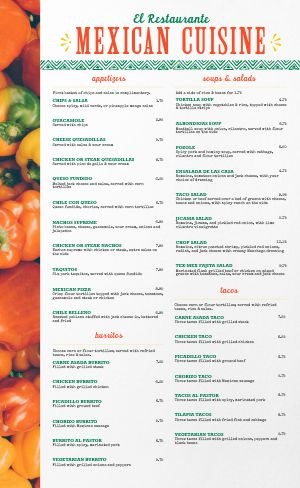 Mexican Bell Peppers Menu