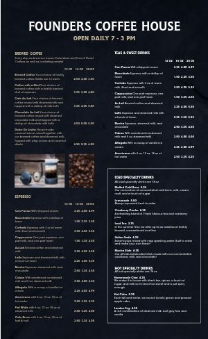 Navy Coffee Menu