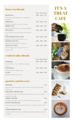 Cafe List Menu