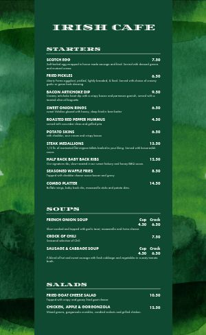 Contemporary Irish Menu