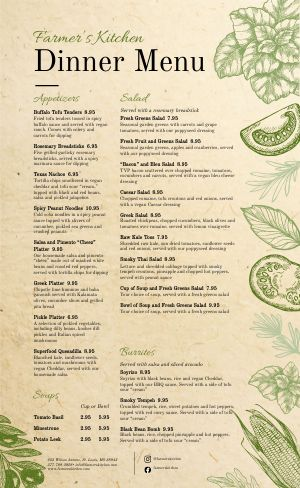 Vegan Kitchen Menu