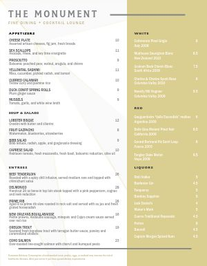 Clean Fine Dining Menu