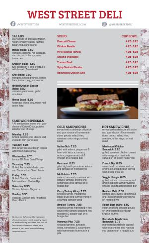 Sample Deli Menu