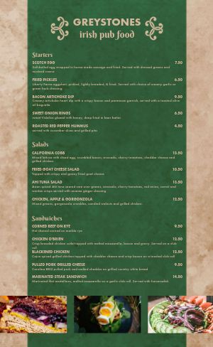 Irish Dine In Menu