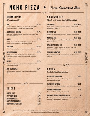 Parchment Pizza Menu