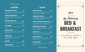 Bed and Breakfast Takeout Menu