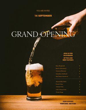 Grand Opening Pub Menu