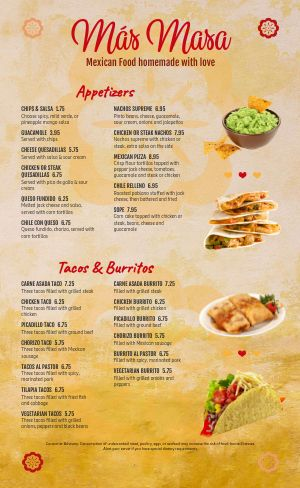 Example Mexican Menu