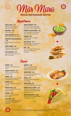 Example Mexican Menu