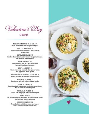 Modern Valentines Day Specials Menu