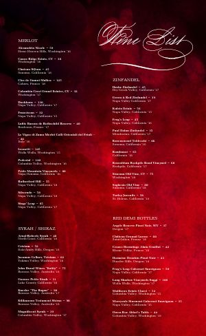 Red Wine List Menu
