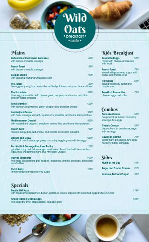Oats Cafe Breakfast Menu