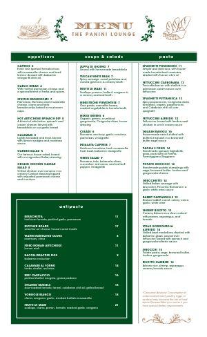 Italian Lounge Menu