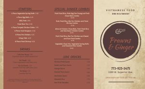 Sample Vietnamese Takeout Menu