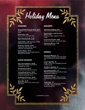 Ornate Holiday Menu