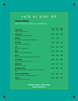 Aqua Coffee Menu
