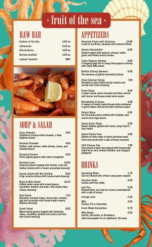Seafood Snacks Menu
