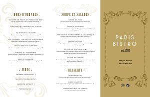 Golden French Folded Menu