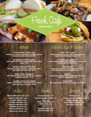 Fresh Modern Cafe Menu