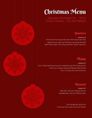Christmas Eve Ornament Menu