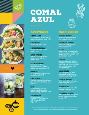 Multicolor Mexican Menu