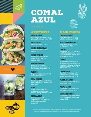Multicolor Mexican Menu