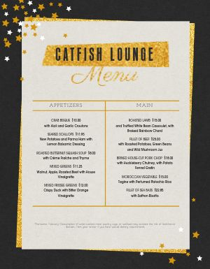 New Years Gold Star Menu