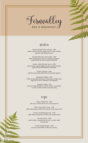 Bed and Breakfast Dining Menu