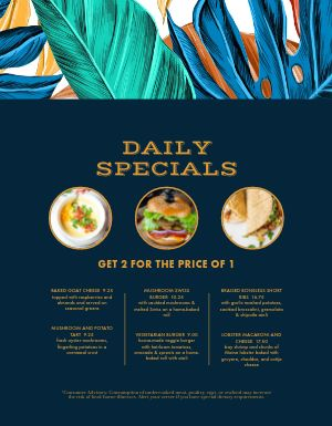 Colorful Daily Specials Menu
