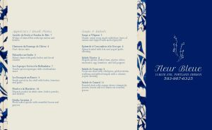 Blue Trim French Takeout Menu
