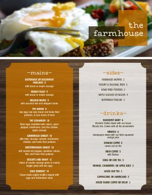 Farmhouse Breakfast Menu