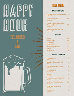 Happy Hour Beer Menu