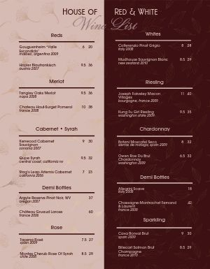 Red and White Wine Menu
