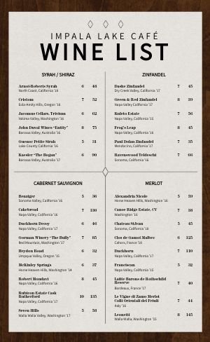 Wood Wine List Menu