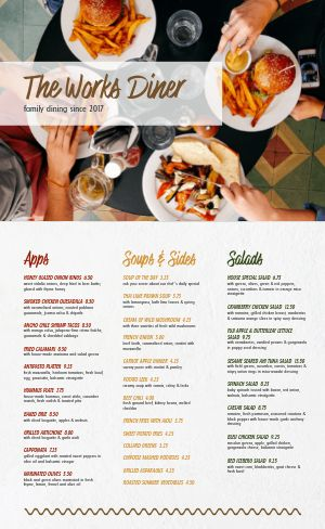 Colorful Diner Family Menu
