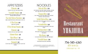 Japanese Noodles Takeout Menu