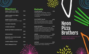 Neon Pizza Takeout Menu