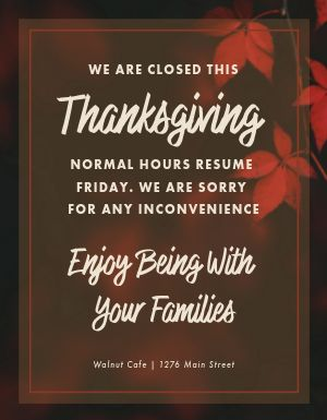 Thanksgiving Closed Flyer