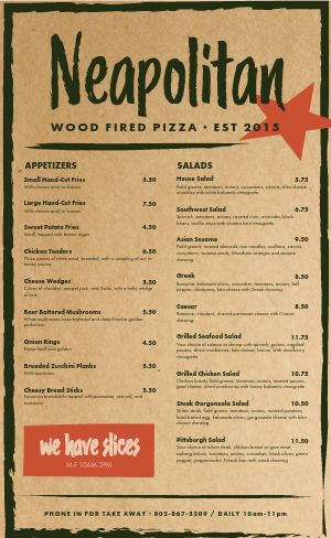 Southern Pizza Menu