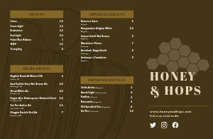 Hops Beer Folded Menu